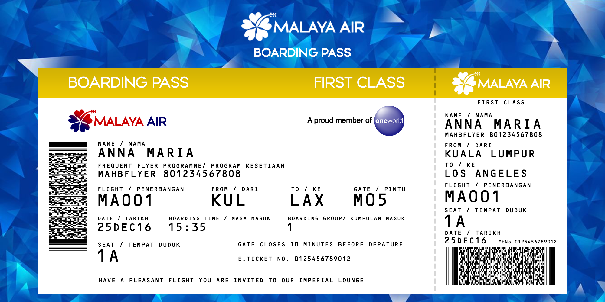 Malaya Air First Class Boarding Pass Label By