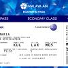 Malaya Air Economy Class Boarding Pass