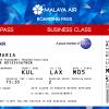 Malaya Air Business Class Boarding Pass