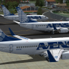 Three Avensa B737s in Merida, Venezuela the world's most sloped runway airport