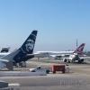 Qantas 747-400, Alaska 737-800, Horizon Air Q400, Delta 737-800 (Skyteam) at LAX
