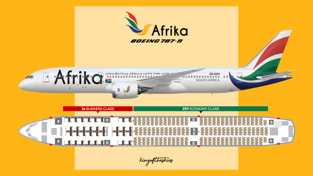 Afrika Boeing 787-9 Livery & Seat Map - PRESTIGE by