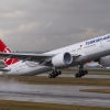 Turkish airlines B777-300ER rainy departure