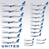 United Airlines fleet in new livery