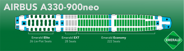 Emerald A330 900neo Seat Map Updated Emerald Airlines V20