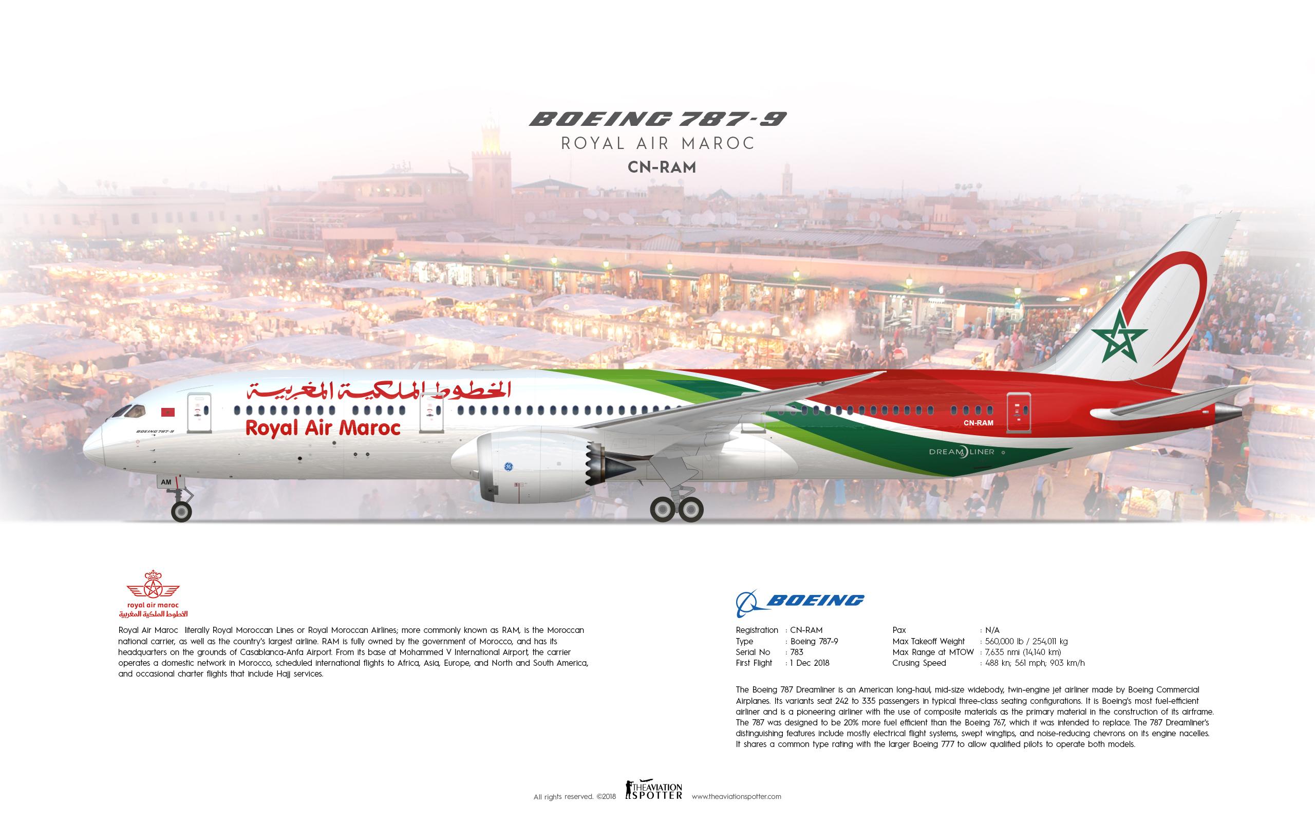 Royal Air Maroc B787 9 Dreamliner - Theaviationspotter's