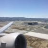 United 777-200 wingview departing San Francisco International – SFO