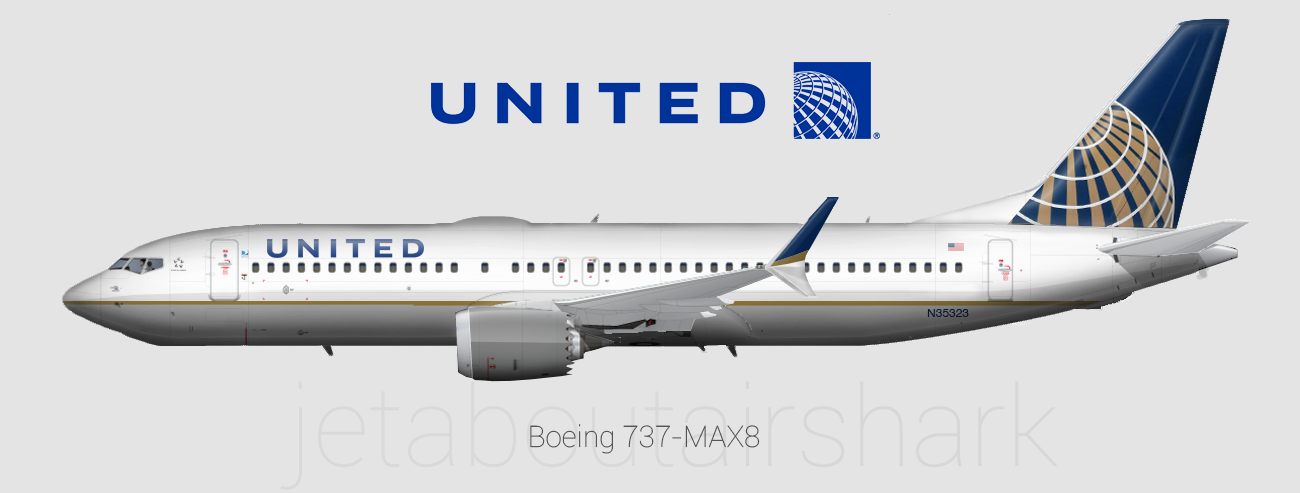 United Airlines 737 Max 8 Re Create By Airshark