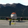 easyJet flight parking up at the gate in Innsbruck