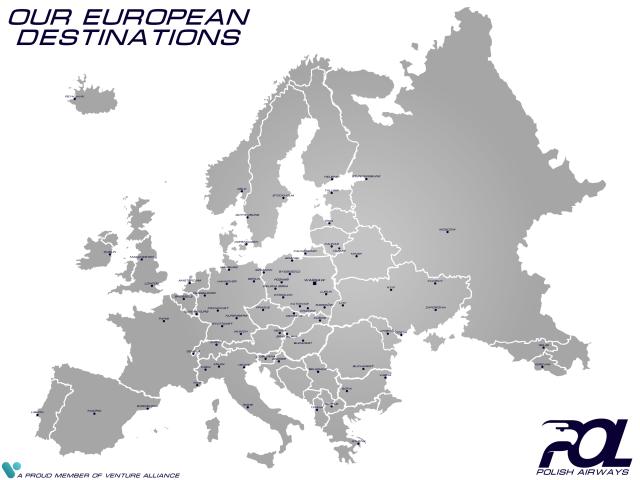 POL Polish Airways   Our European Destinations   Route Map
