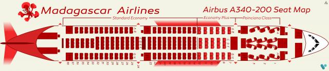 madagascar a340 seat Map