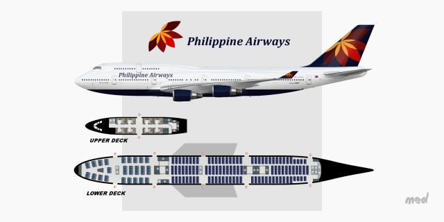 Philippine Airways Seat Map B747-400 - Sketches - Gallery - Airline on