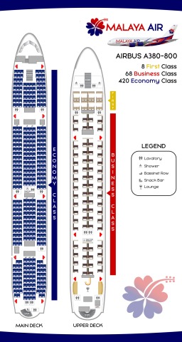 A380 Seat Map Malaya Air Airbus A380 800 Seat Map   LABEL by kingoftheskies