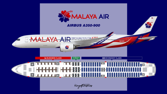 A350 Seat Map Malaya Air Airbus A350 900 Livery & Seat Map   PRESTIGE by